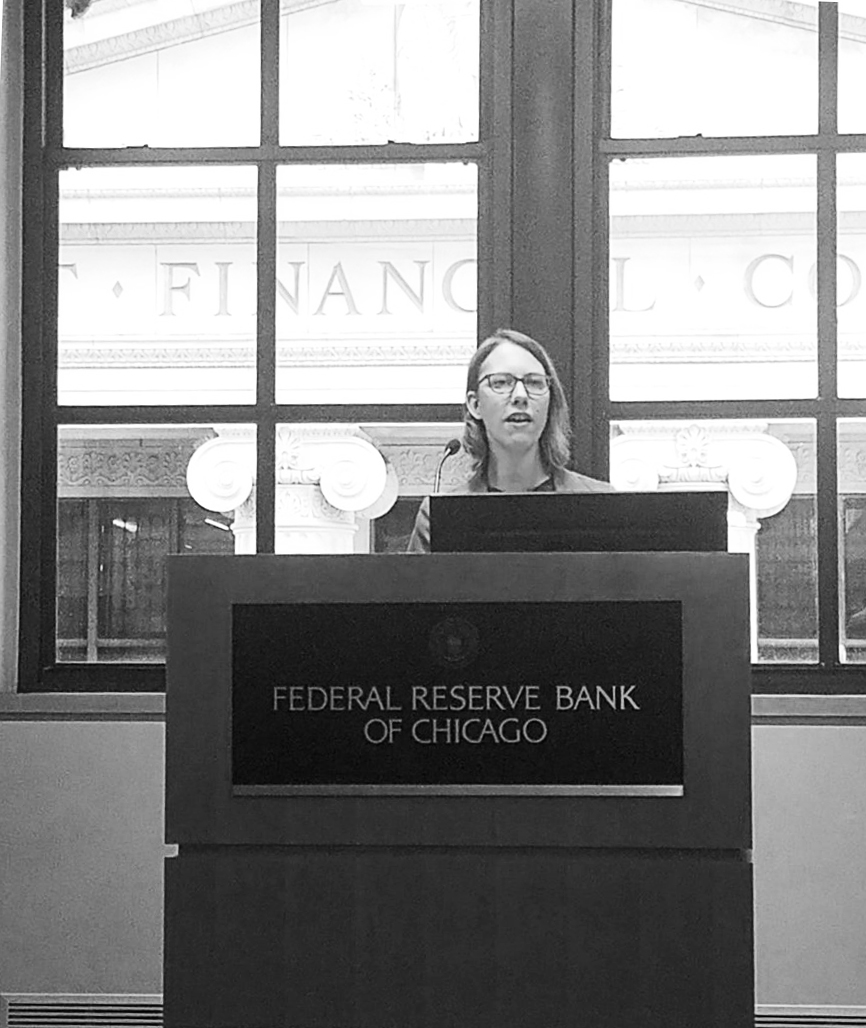 presenting research findings at the Chicago Federal Reserve Bank