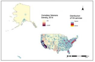 VA services and veterans populations map