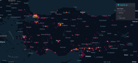 heat map showing calls from refugees to non-refugees