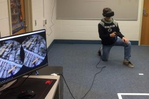 STudent uses VR