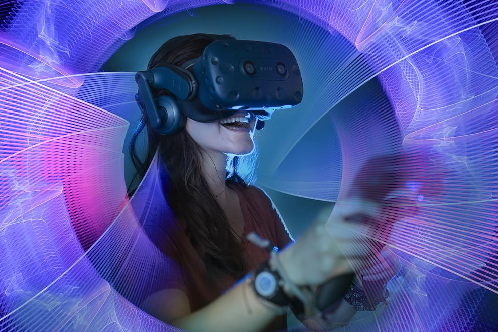 student using VR technology