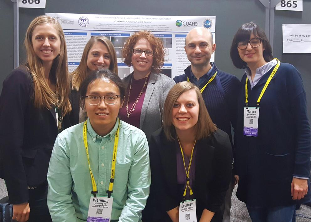 Guido Cervone with students and postdoctoral scholars from his lab at a recent AGU fall meeting