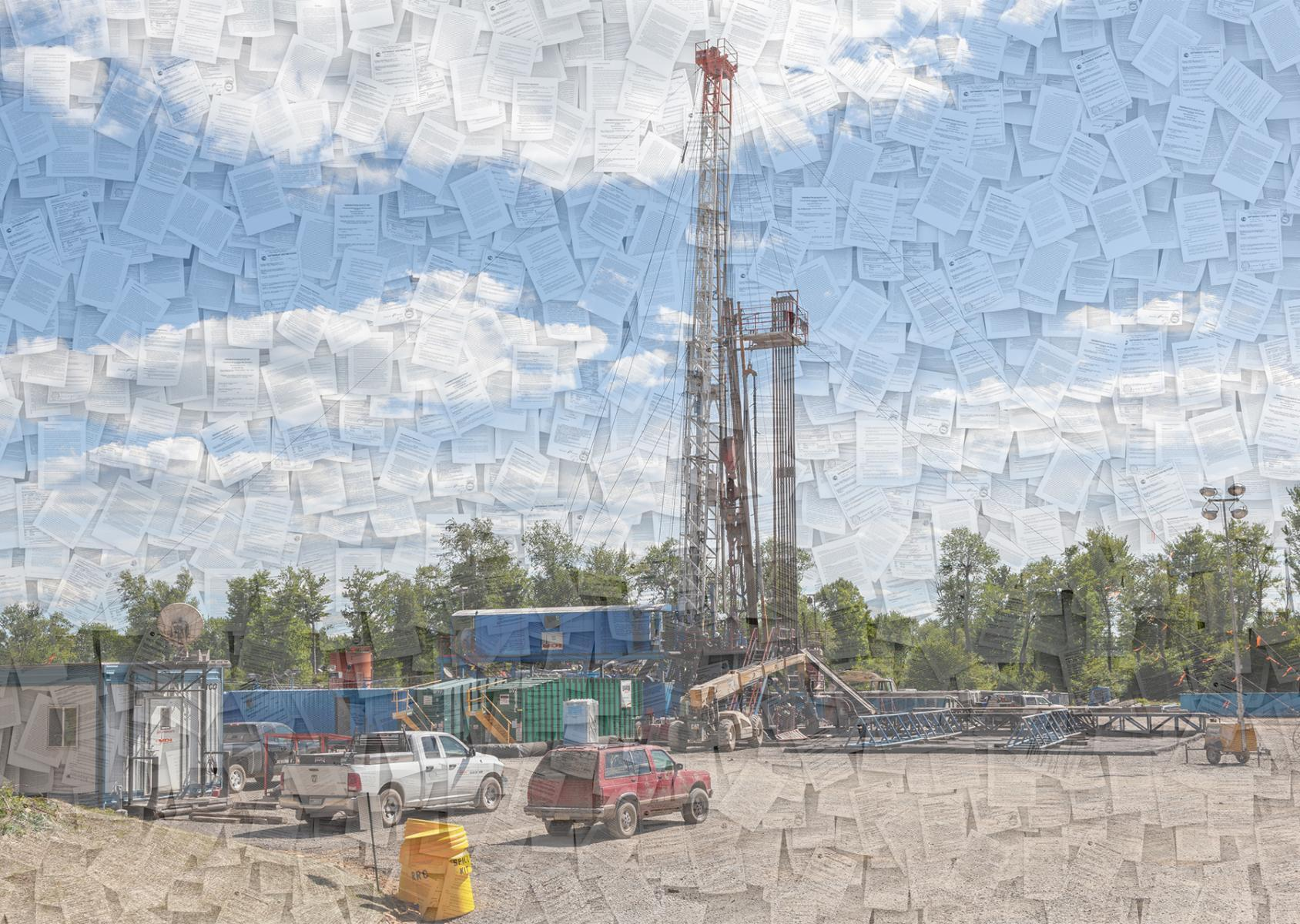a fracking rig construction site in Pennsylvania overlaid with images of documents
