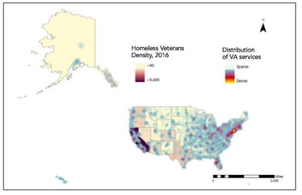 VA services and veterans populations map