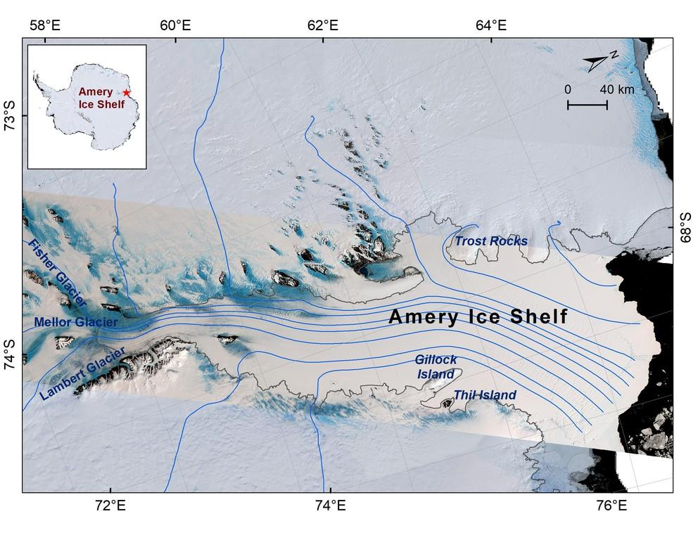 Satellite imagery of the Amery Ice Shelf in East Antarctica