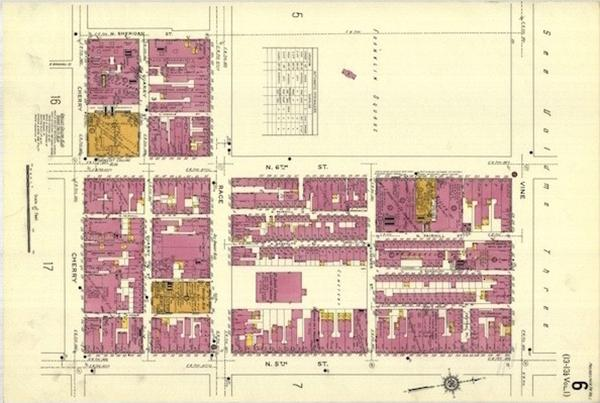 This engineering drawing of Franklin Square in Philadelphia is part of the Sanborn Fire Insurance Maps of 1925 collection