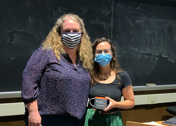 Louisa Holmes (left) with Coffee Hour speaker Heather Randell